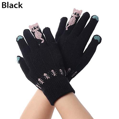 Arbeiten Sie Nette Touch Screen Handschuh-Karikatur-Katzen-Winter-Warme Gestrickte Handschuh-Volle Finger-Handschuhe Verdicken Warme Weiche Ausdehnungs-Handschuhe, Type1-Black Um