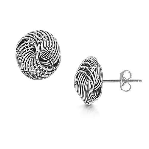 Amberta orecchini a lobo grandi in vero argento sterling 925 - coppia di orecchini particolari per donna -paio di orecchini a perno a forma di nodo