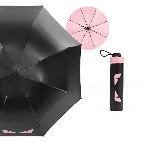 xinrongqu Sonnenschirm Taschenschirm Schwarzer Kunststoffschirm Automatikschirm Dual-Use Sonnenschutz Uv-Regenschirm Apollo Pink 23 Zoll