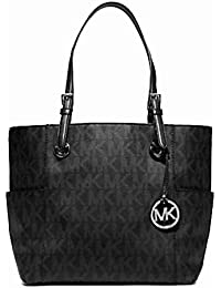 black and gray michael kors bag ya6d  Michael Kors Jet Set Signature Logo Tote in Black