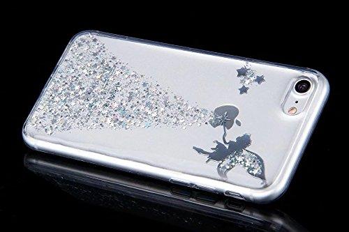 Etsue Glitter Silikon Case für iPhone 7 (4.7 Zoll) 2016 TPU Case Schutzhülle, Glänzend Glitzer Sparkle Shiny Star Sterne Engel Mädchen Muster Silikon Crystal Case Clear Transparent Rückseite Schutzhül Mädchen,Silver