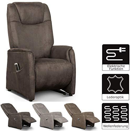 Cavadore Fernsehsessel Mamby / TV-Sessel elektrisch mit 2 Motoren zur Verstellung der Rückenlehne und Fußstütze / Ergonomie M / Belastbar bis 130 kg / 69 x 117 x 83 / Wildlederoptik Dunkelbraun