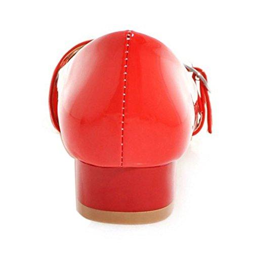 TAOFFEN Femme Classique Bout Ferme Rond Escarpins Bas A Enfiler Bloc Talon Bas Chaussures Mary Janes 67 rouge