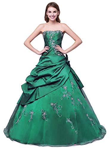 Zorayi Damen Elegante Perlen Stickerei Promkleid Ballkleider Festkleider Smaragd Größe 58