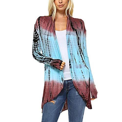 UFACE Damen Fashion Tie-Dye Hi-Low Offener Cardigan Langarm Asymmetrische Top Bluse Farbverlauf...