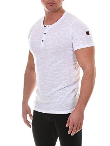COEN BALE Herren T-Shirt Feinstrick Pulli Kurzarm Regular Fit Rundhals mit Knopfleiste Aus Hochwertiger Baumwollmischung Meliert Gym Fitness Trainingsshirt Training Weiß