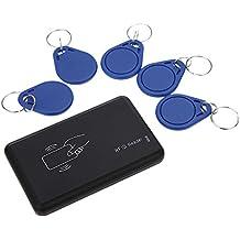 KKmoon Lector de Tarjetas sin Contacto 14443A IC con Tarjetas 5 USB Interfaz + 5pcs Llavero RFID 13,56 MHZ