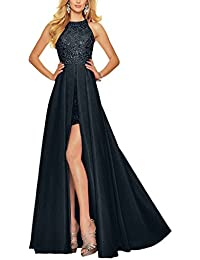 Charm Bridal Long Satin Sequin Women Wedding Party Prom Gown Bridesmaid Dresses -12-Navy
