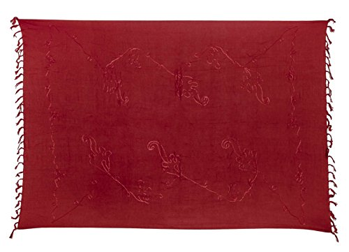 Sarong Pareo Wickelrock Strandtuch Lunghi Stickerei Tuch Schlicht Uni Dunkel Rot