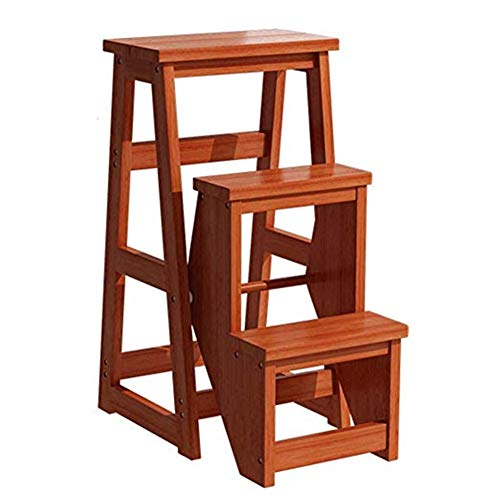 XJRHB Holz 3 Leiter Tritthocker Stuhl Klappleiter Home Küche Bibliothek Lift Multifunktionsleiter Werkzeug Dekoration Maximallast 130kg - Schwarz (Küche, Stühle Für Schwere Menschen)