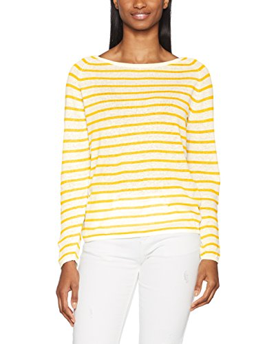 SELECTED FEMME Sfnive Stripe LS Knit Pullover, Maglia a Maniche Lunghe Donna Multicolore (Citrus Stripes:natural Base)