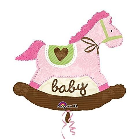 Folienballon Luftballon Heliumballon SuperShape Baby Pink Rocking Horse - 74 x 66 cm