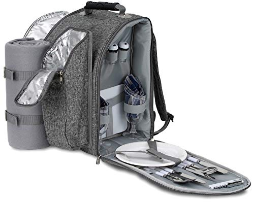 Brubaker Picknickrucksack für 2 Personen Grau Melange 28 × 22 × 40 cm - mit Flaschenhalter und Decke