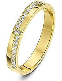 Theia 9ct Yellow Gold Flat Court Shaped 0.18ct Round Diamond Prong Set 3mm Stepped Eternity Ring