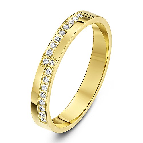 Theia 9ct Yellow Gold Flat Court Shaped 0.18ct Round Diamond Prong Set 3mm Stepped Eternity Ring - Size I