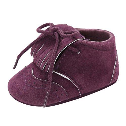 Zapatos de bebé para bebés Botas para niños Chicas Chicos Borla Suela Blanda Antideslizante Lona Zapatos de Cuna Zapatillas LMMVP (12(6~12 M), Púrpura)