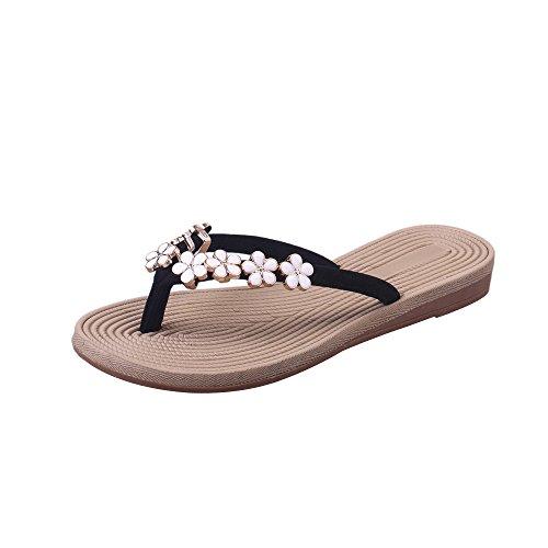 Bhydry sandali estivi donna moda solido colore fiore infradito pantofola scarpe da spiaggia(35 eu,nero)