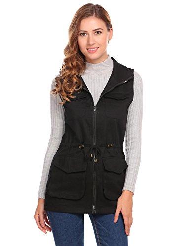 Damen Weste Jacke Outdoor Funktionswesten Stehkragen mit Vier Taschen Schwarz Grün
