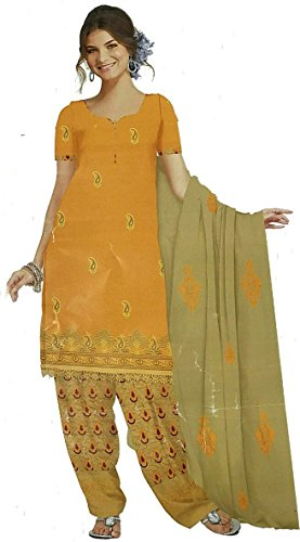 D.Chiku Rumisha Salwar Kameez Dupatta Indian Dress Material in Mango & Yellow...