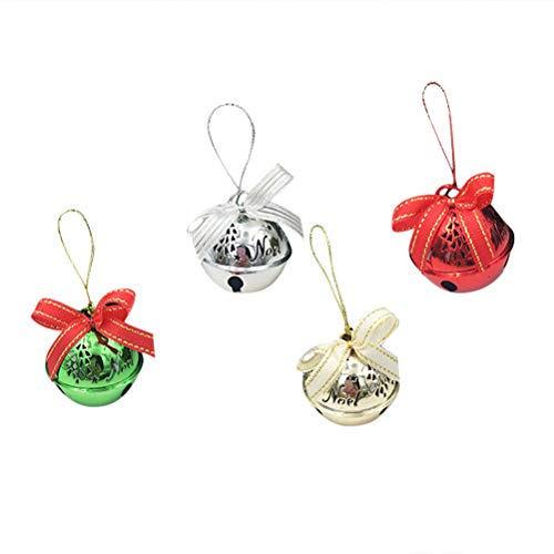 SUPVOX 4PCS Christmas Hanging Bell mit Bowknot Weihnachtsbaum Party hängen Dekor (Musikalischer Christbaumschmuck)