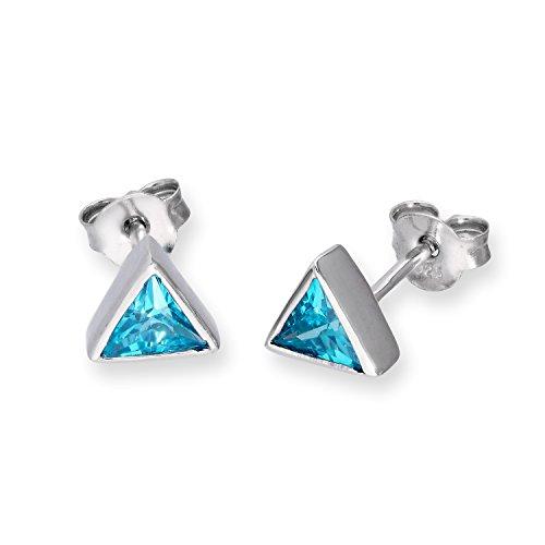 Orecchini triangolari in argento Sterling e pietre CZ portafortuna color acquamarina - Marzo
