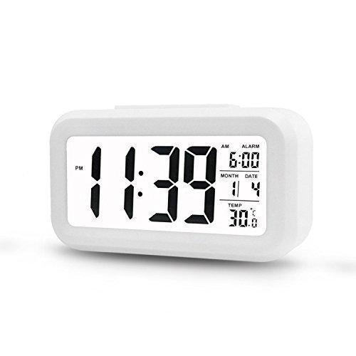 Digitale Smart Wecker ,5.3 Clock einfache und Silent LED Alarm w / Datum-Anzeige, Wiederholung Snooze und Sensor-Licht Night Light (White)