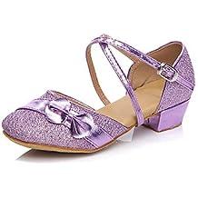 Silencio @ Kids 'zapatos de baile Latina/Salsa/Flamenco/Samba sintético tacón bajo azul/rosa/morado/rojo, rojo, US4.5 / EU36 / UK3.5 Big Kids