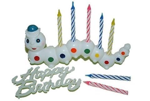 9 tlg. Set Raupe mit Kerzen / Schriftzug Happy Birthday Mini Kerzen Kind