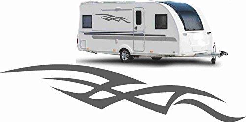 Werbalkost 2x Wohnwagenaufkleber Wohnmobil Aufkleber Caravan Sticker 120cm grau