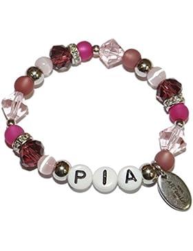 ARTemlos® Handgefertigtes Kinder-Armband mit Name aus Edelstahl und Perlen (066y)
