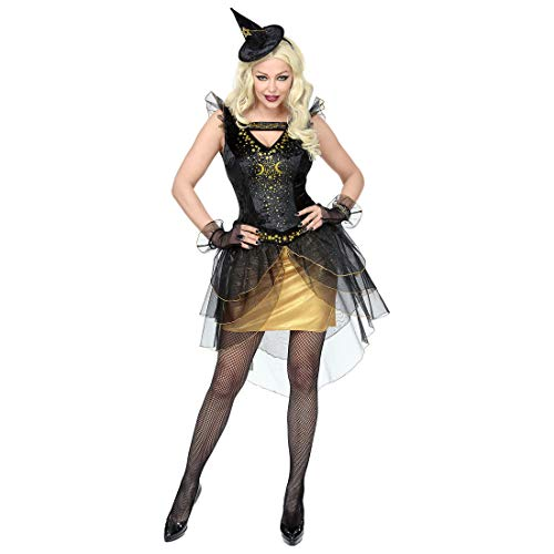 NET TOYS Attraktives Hexen-Kostüm für Damen | Schwarz-Gold in Größe L (42/44) | Figurbetontes Frauen-Kleid böse Fee | Wie geschaffen für Halloween & Walpurgisnacht