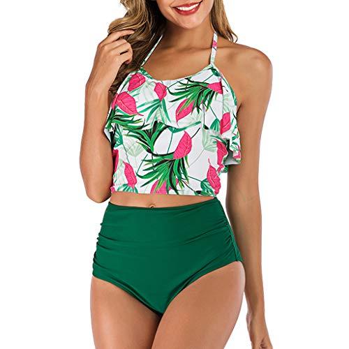 VBWER Damen Bikini Set Push Up Volant Hohe Taille Tankini Set Blumen Druck Bademode Neckholder Badeanzug Große Größen Schwimmanzug