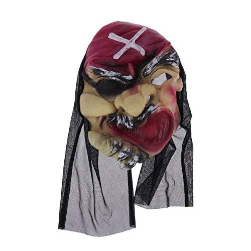 Amosfun Halloween Pirat Maske gruselig Halloween Masken Horror Maske Pirat Gesichtsmaske Halloween Kostüm Cosplay -
