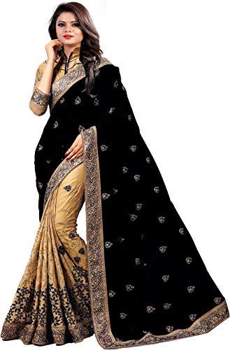 Nivah Fashion K724 Damen Seide bestickt Saree mit Bluse Gr. One size, Schwarz -