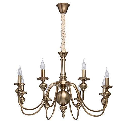 Mw-light 614010608 lampadario da soffitto metallo colore ottone anticato in stile classico 8 x 60w e14 escl
