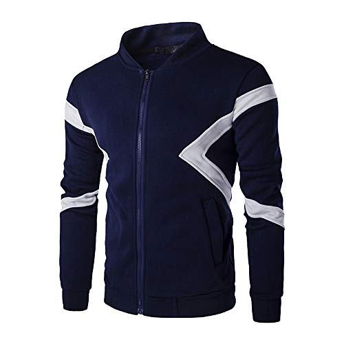Xmiral Herren Sweatshirt Jacke Langarm Reißverschluss Patchwork Farbe -
