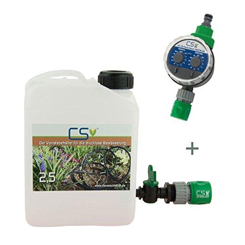 CS Wasser-Vorratsbehälter 2,5 l mit Absperrhahn, Schnellschlauchstück, Bewässerungscomputer, drucklose Bewässerung