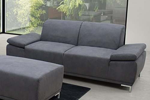 PIACENZA 3er Boxspringsofa 3-Sitzer Sofa Couch Microfaser Dunkelgrau