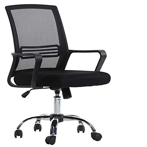 HKX Office Computer Stuhl丨Home Besprechungsraum Stuhl丨Stoff Mesh Verstellbarer Swivel Computer Desk Chair mit Armlehnen Rückenlehne (Farbe : SCHWARZ)