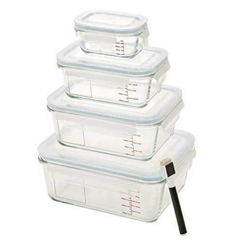 Homiu - Juego de recipientes de cristal para almacenamiento de alimentos con tapas de horno, lavavajillas, microondas, congelador, resistente al impacto 8Pcs Glass Container with Scale & Pen transparente