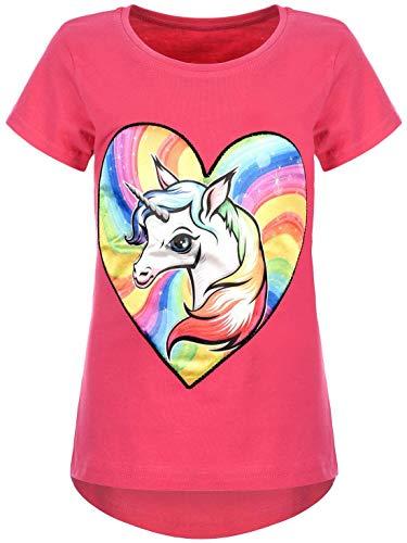 Kmisso Kinder T-Shirt Sommer Bluse Mädchen-Shirt Kurzarm-Shirt LED-Licht Shirts 30030 Pink 104
