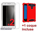 2 Films Vitre Verre Trempé Protection ecran + 1 Coque Gel Silicone incassable Red Rouge Universelle Logicom Le Hello/L-ITE 506R HD (5' Pouces)