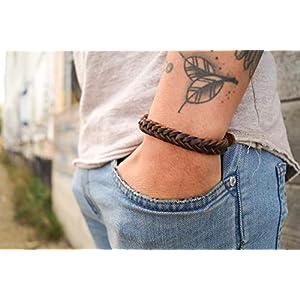 Lederarmband Herren - Armband Männer Leder - Schmuck Geschenk Handmade - Herrenarmband geflochten - Echtleder Dunkelbraun