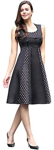 jeansian Damen Lady Retro Sleeveless Stitching Elegant Slim A Line Dress WHS418 Black