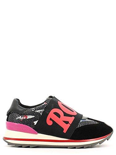 """Sneakers Fornarina da donna, in tessuto paillettato colorato e camoscio nero, imboccatura elastica con scritta """"ROCK"""" in rosa. Suola con rialzo in gomma logata e antiscivolo. Nero"""
