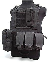 Al aire libre táctico chaleco entrenamiento CS campo de combate protector chaleco, hombre, negro