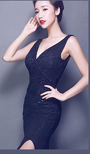 Beauty-Emily Offenes seitliches Bodycon Spitze-Rückenfrei V-Ansatz Abend-Kleid Schwarz