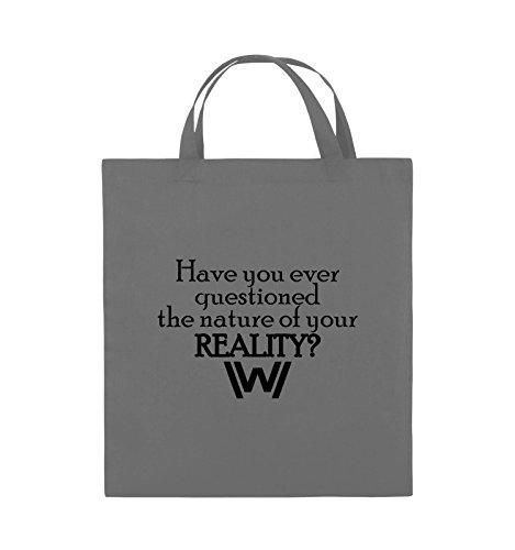 Comedy Bags - Have you ever questioned - WESTWORLD - Jutebeutel - kurze Henkel - 38x42cm - Farbe: Schwarz / Pink Dunkelgrau / Schwarz