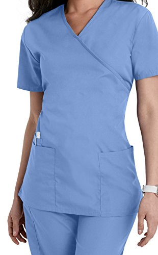 Smart Uniform Women's 1224 Scrub Modern Fit Mock Wrap Top (L, Ceil)