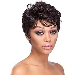 Innerternet Cheveux Courts Et BoucléS, Perruques De Cheveux Naturels Noirs SynthéTiques De Mode SynthéTiques FraîChes Courtes Femmes FriséEs(Noir,10cm)